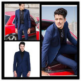 Slim Fit Two Button Single Breasted Blue Suit Groomsmen Suit Customize Wedding Suit