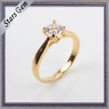 Fashion CZ Prong Setting 925 Silver Goold Plated Jewelry Ring