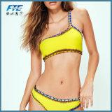 Hot Swimwear One Shoulder Crochet Trim Bikini Set