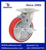"5"" Polyurethane Castor Wheels, Iron Core, Swivel with Brake, Heavy Duty"