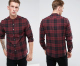 Stretch Slim Poplin Check Shirt in Burgundy