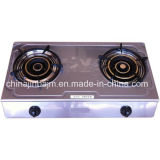 2 Burner Patterned Stainless Steel Gas Cooker