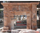 Popular Design Natural Stone Fireplaces with White/Beige Marble
