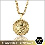 Missjewelry Round Antique Gold Dog Tag Pendant