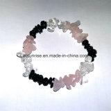 Natural Black Tourmaline Crystal Rose Quartz Chips Bracelet