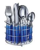 24PCS Plastic Handle Tableware Set