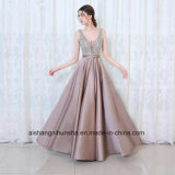Women V-Neck Beads Bodice Open Back Evening Dress Prom Dress