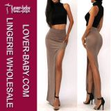 2015 Brown Slit Split High Wasit Dress Lady Skirt (L396-3)