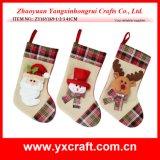 Christmas Decoration (ZY16Y169-1-2-3 41CM) Burlap Christmas Stocking Christmas Supplies