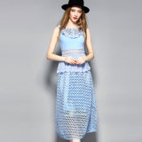 Blue Water Solution Hole Hollow out Sleeveless Women MIDI Dress