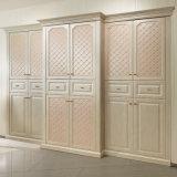 European Style PU Leather Hinged Wooden Bedroom Wardrobe (OP-YG21129)