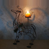 Metal Reindeer Christmas Pillar Candle Holders with Pine Branch