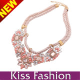 Having Stock MOQ From 12PCS New Model Crystal Bib Statement Fashion Jewelry Necklace 2014 (EN0105A)