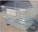 Warehouse Stackable Steel Wire Mesh Pallet Container / Storage Cage
