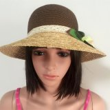 100% Paper Straw Hat, Fashion Contrast Col Style with Flowers Decoration