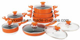 Kitchenware 12 PCS Orange Aluminum Non-Stick Coating Cookware