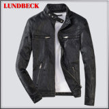 Black PU Jacket for Men Winter Coat