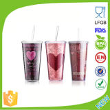 Promotional BPA Free Disposable Plastic Cup with Straw Dn-100