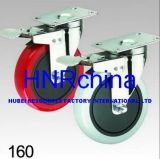 Red PU Swivel with Double Lock Plate Top Caster