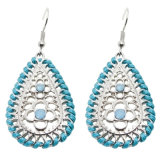 Hollow out Water Drop Earrings with Rhinestone Dangle Earings in Silver