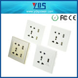 13A 2 Gang Socket with USB Charger 2.4A