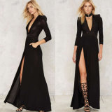 Lady Black Deep V Multi-Layer Shoulder Long Sleeve Evening Dress