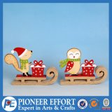 Wooden Fox and Bird Tabletop Decor with Sleigh for Christmas