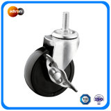 Thread Stem Plastic Casters with Side Brake