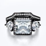 Princess Cut Center White Stone Ring Set