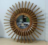 Home Decorative Solid Wood Sunflower Shape Modern Wall Mirror (LH-W17033)
