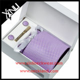Handmade 100% Silk Jacquard Woven Purple Tie Set