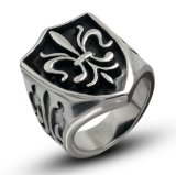 Matte Black Shield Cross Ring Stainless Jewelry Wide Cast
