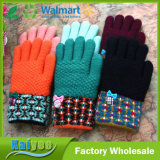 High-Grade Jacquard Plush Lining Butterfly Knot Lady Warm Gloves