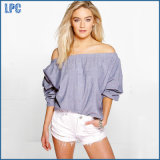 Chambray Strapless off Shoulder Women Fashion Blouses