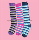 Girl′s 24 Inches Cotton Stocking Socks with Stripe Design