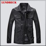 Black PU Jacket for Men Winter Fashion Clothes