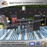 Well Furnir T-086 Outdoor Flat Rattan Weaven 5 Piece Seats Dining Set