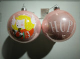 10cm X′mas Glass Ball with Decal (three pattern)
