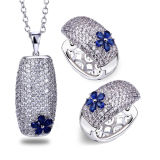 Hot Sale 925 Sterling Silver Ring and Pendants Jewelry Set