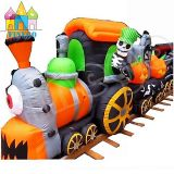 Skeleton Ghost Riding Pumpkin Halloween Inflatable Train