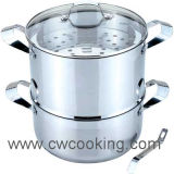 Cooker-3PCS Stainless Steel Steamer with Ss Handle