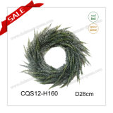 11′′ Artificial Wreath PE Plastic Snowy Wreath Glass Craft Decoration