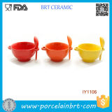 Wholesale Solid Color with a Spoon Ceramic Soup Bowl