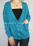 Women Knitted V Neck Fashion Clothes (12AW-075)