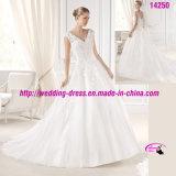 Princess Pure Organza Gown Dress Wedding with V-Neckline