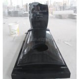 China Shanxi Black Granite Monuments with Carving Roses (EME-315)