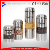 Stainless Steel Coating Decorative Candy Glass Storage Jar with Lid