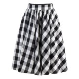 2017 Top Quality Women′s Clothing Factory Black and Red Plaid Full Circle Skirts