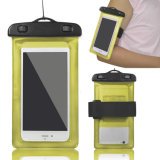 Yellow Color Waterproof Dry Bag for Mobile Phone with Armband