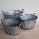 Vintage Iron Oval Bucket Food Contanier